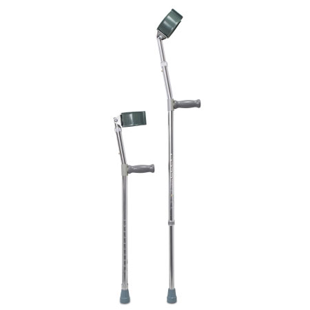 McKesson Push Button Adjustment Steel Frame Forearm Crutches, Adult