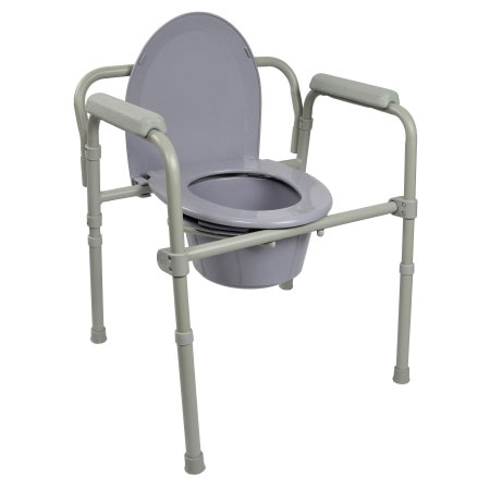 McKesson Fixed Arm Folding Commode Chair, Gray