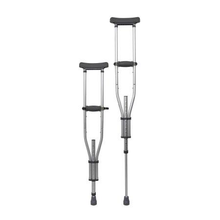McKesson Push Button Adjustment Aluminum Frame Underarm Crutches, Adult
