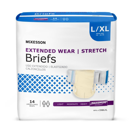 Extended Heavy Absorbency Disposable Incontinence Brief, Large/X-Large