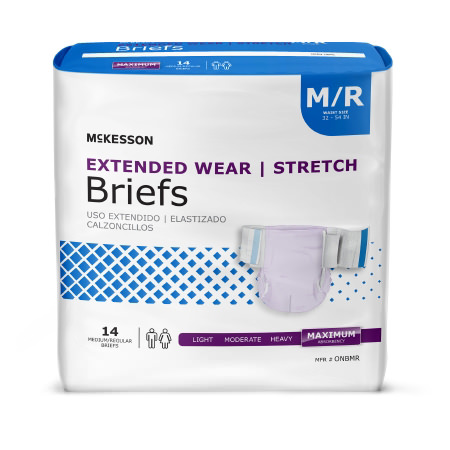 McKesson Extended Heavy Absorbency Disposable Incontinence Brief, Medium