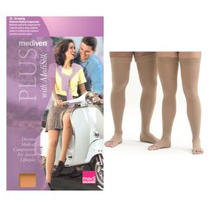 Mediven Plus Thigh High Compression Stockings, Open Toe, Size 3, Beige