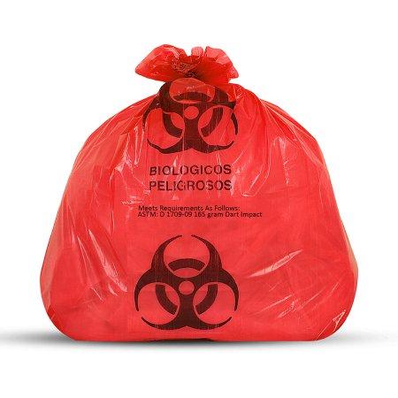 "Medegen Biohazardous Waste Bag 23"" x 23"" 1-1/2mil Gauge"