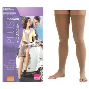 Mediven Plus Thigh High Compression Stocking, Size 4, Petite, Beige
