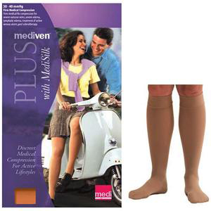 Mediven Plus Calf High Compression Stocking, Size 7, Beige