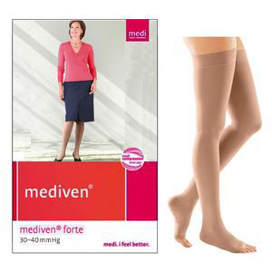 Mediven Forte Thigh High Compression Stocking, Size 6, Petite, Caramel