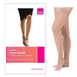 Medi Sheer & Soft Thigh-High Compression Stockings, Ebony, Open Toe