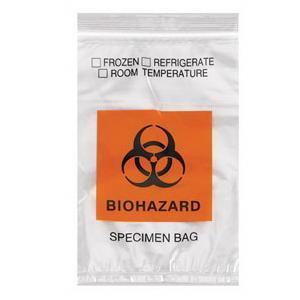 """Medegen Lab Specimen Transport Bag with Zip Closure, Clear/Black/Red, 6"""" x 9"""""""