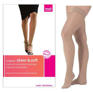 Mediven Sheer & Soft Thigh High Compression Stocking, Size 2,Natural