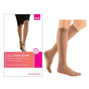 Mediven Sheer & Soft Calf High Compression Stocking, Size 3, Toffee