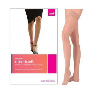 Mediven Sheer & Soft Thigh High Compression Stocking, Size 4, Natural