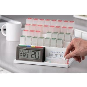 Medcenter Monthly Pill Organizer with Alarm, Backlite Display