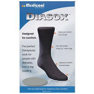 Medicool DiaSox Diabetes Socks, Small, Black