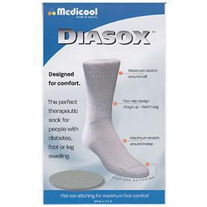 Medicool DiaSox Diabetes Socks, Large, White
