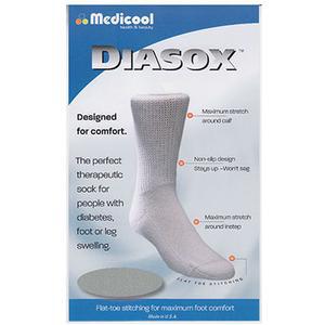 Medicool DiaSox Diabetes Socks, Medium, White