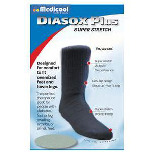 Medicool DiaSox Plus Oversize Diabetes Socks, Medium, Black