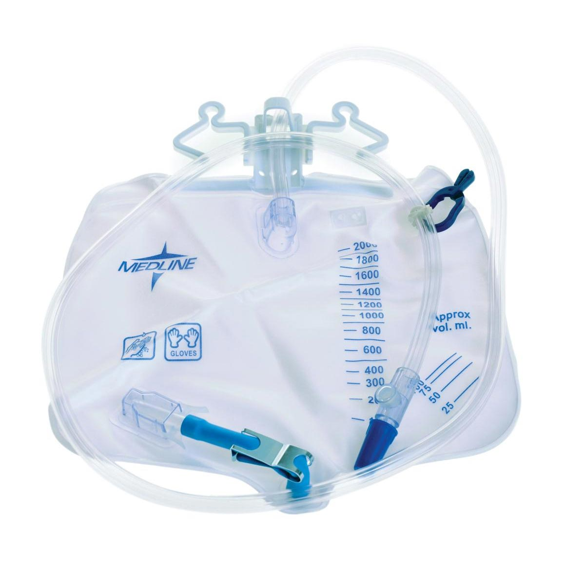 Medline Industries Drainage Bag with Antireflux Tower, Drainage Port with Metal Clamp 2000mL
