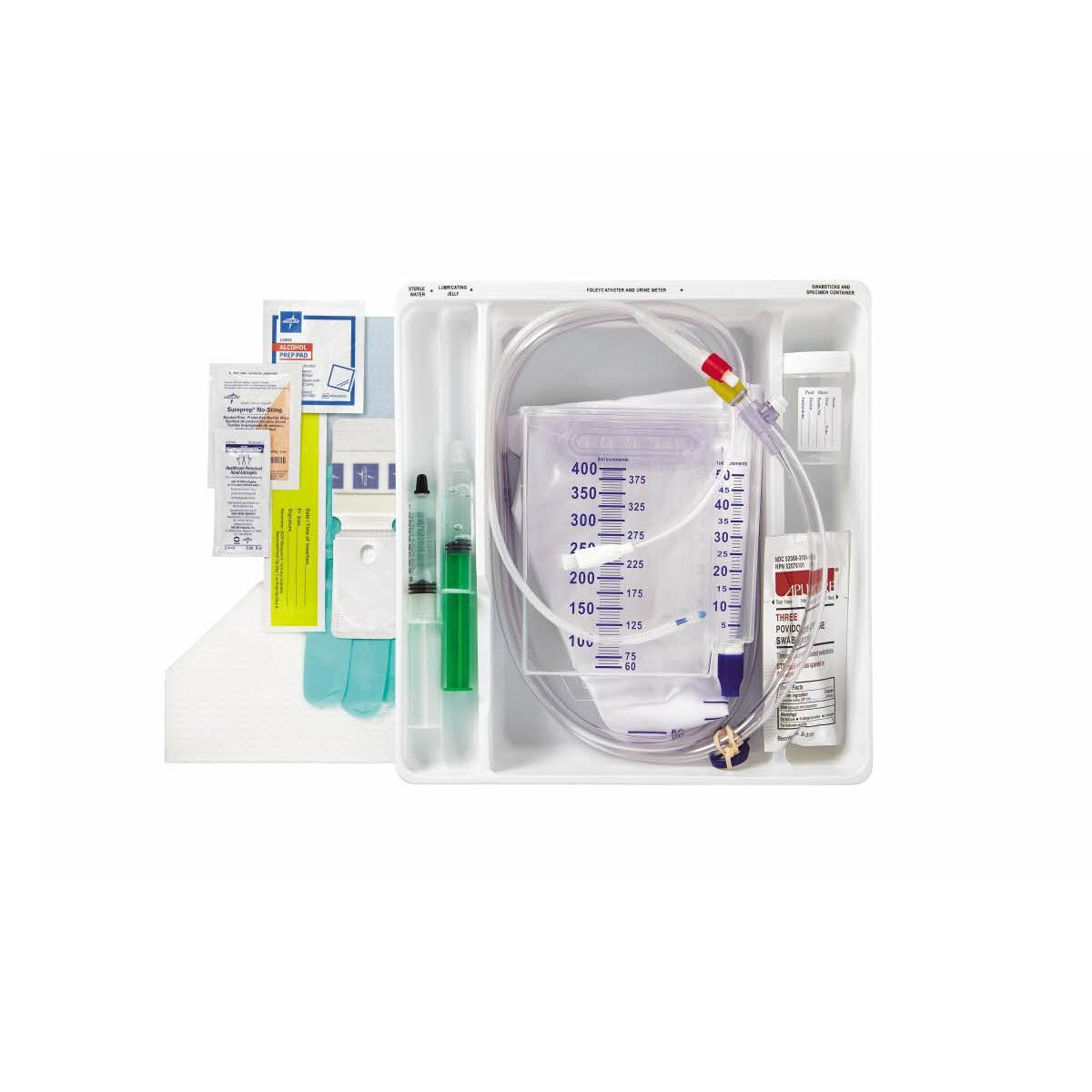 Medline 100% Silicone Foley Catheter Tray, Adult, 18Fr OD, 10cc Balloon