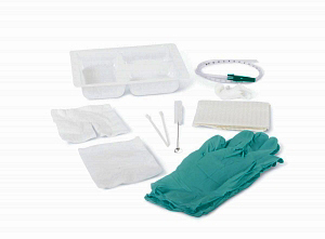 Medline Basic Tracheostomy Clean and Care Tray with Triple Compartment Tray