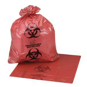 Medegen Medical Biohazardous Waste Bag, 33 Gallon, Red/Black