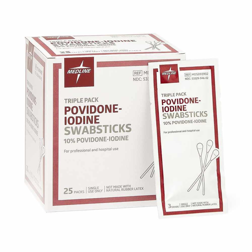 Medline Povidone Iodine 10% USP Swabstick