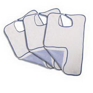 Velcro Impervious Extra Long Terry Cloth Adult Bib, White