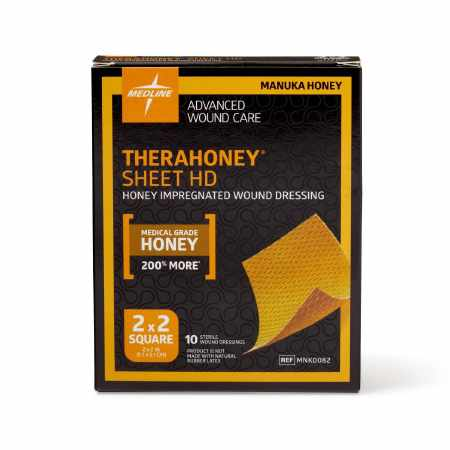 Medline TheraHoney HD Honey Wound Dressings, 2 Inch x 2 Inch
