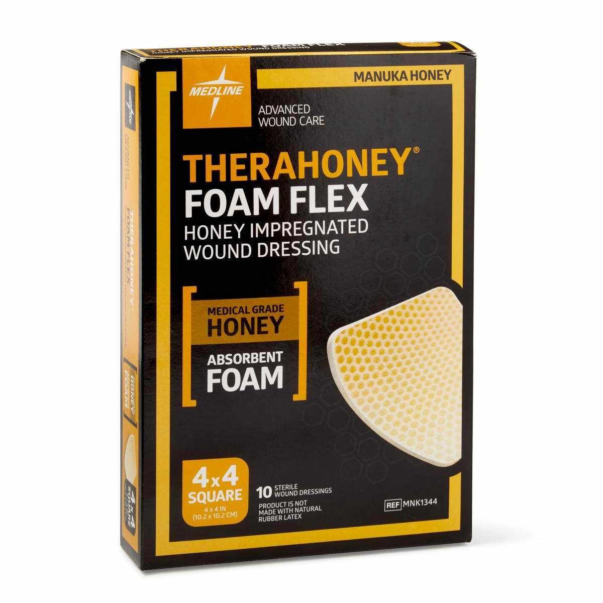"Medline TheraHoney Foam Flex Honey-Impregnated Wound Dressing, 4 x 4"""