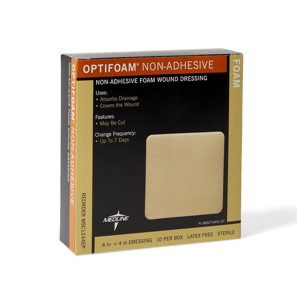 Medline Optifoam Square Shape Non Adhesive Foam Dressing, 4 Inch x 4 Inch