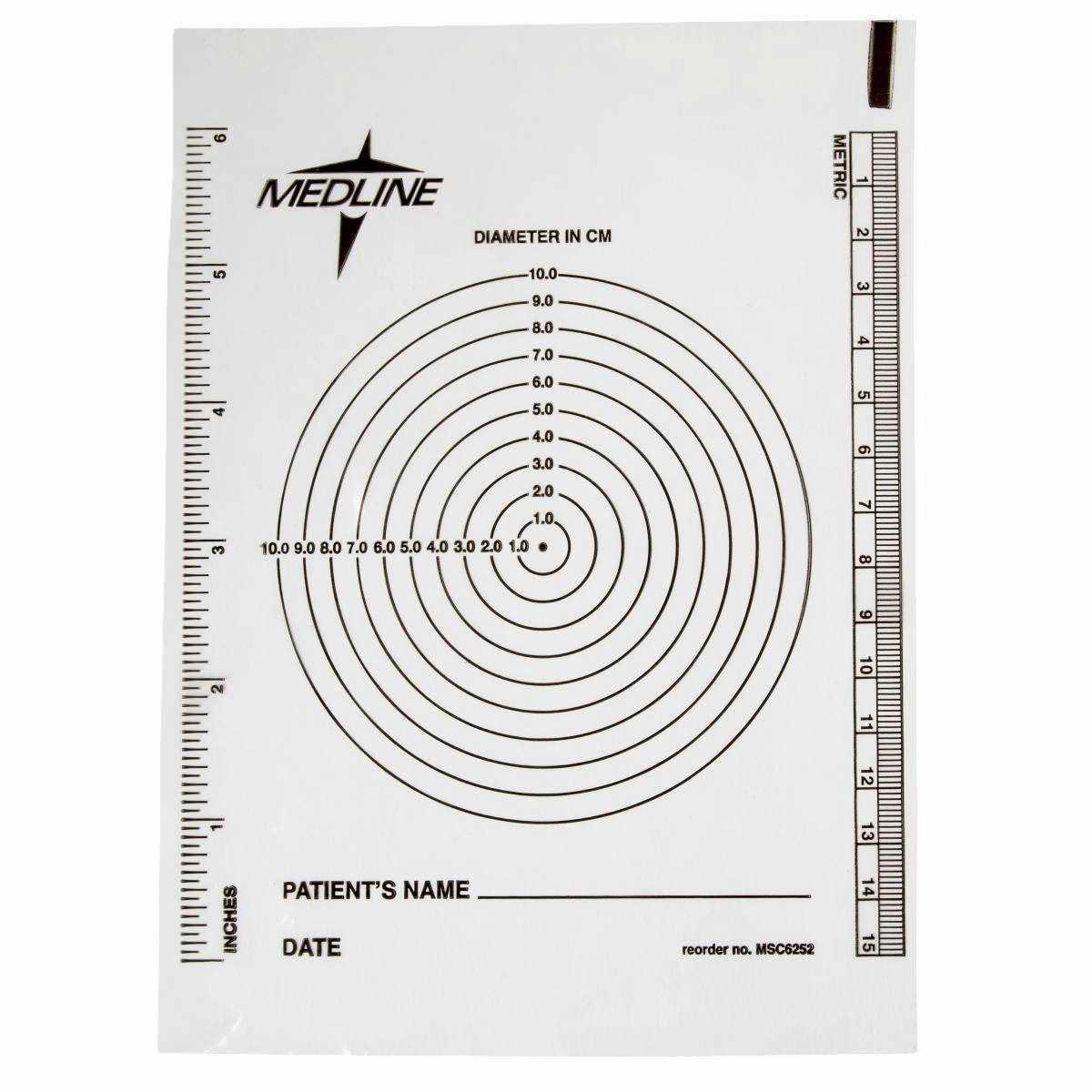 Medline Bullseye Wound Measuring Ruler, Plastic