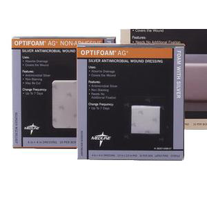 Medline Optifoam Ag+ Square Foam Dressing with Ionic silver, 4 x 4 Inch
