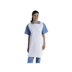 "Medline Protective Poly Disposable Apron 24"" x 42"" White Lightweight Pullover"