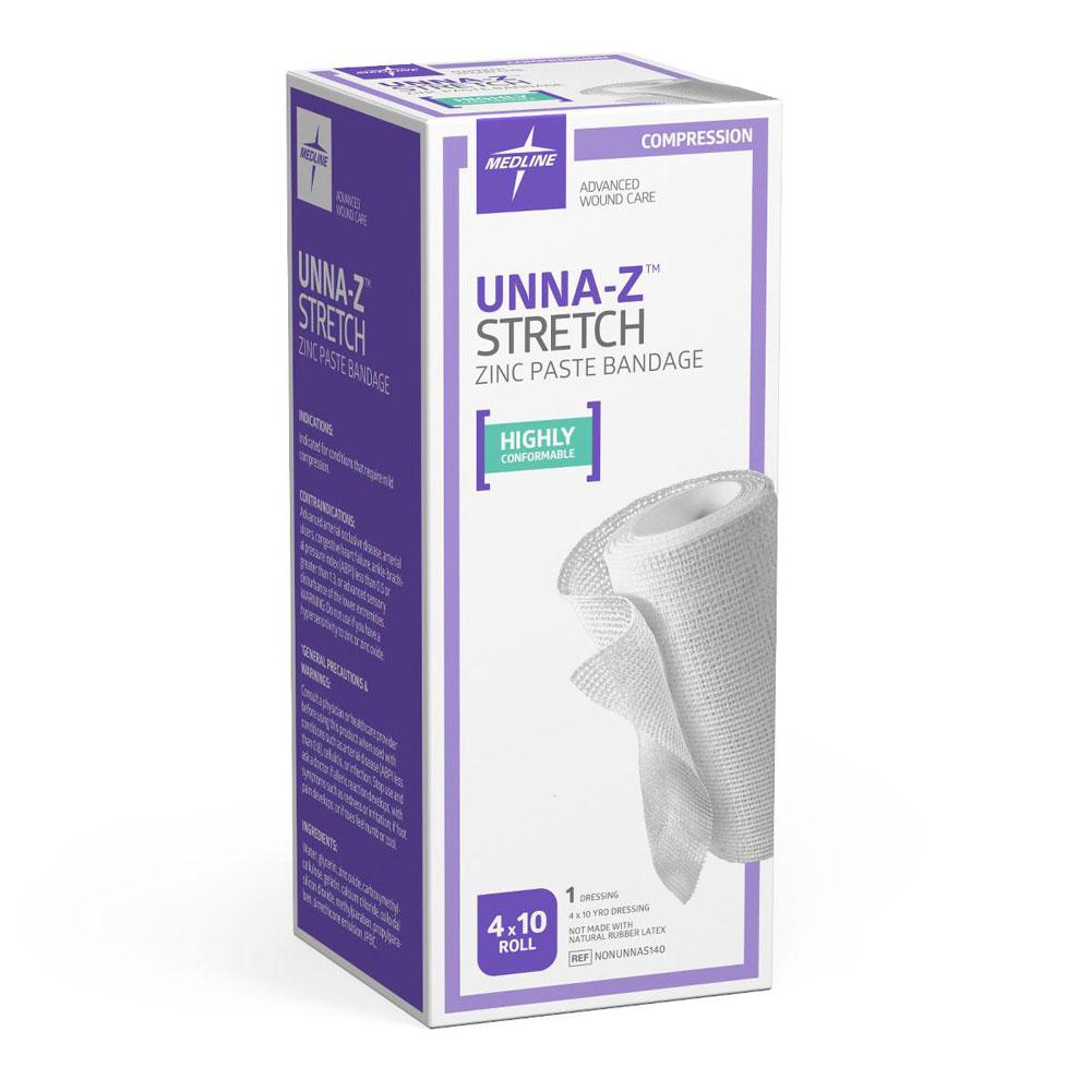 "Medline Unna-Z Zinc Oxide Paste Stretch Elastic Bandage, 4"" x 10 Yard"