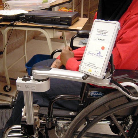 Mount'n Mover single arm attachment on wheelchair