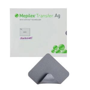 "Molnlycke mepilex transfer Ag 4"" x 5"" antimicrobial soft silicone exudate transfer dressing"