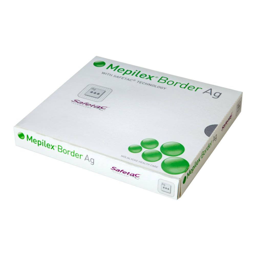 """Molnlycke mepilex border Ag antimicrobial foam dressing with silver 4"""" x 4"""""""