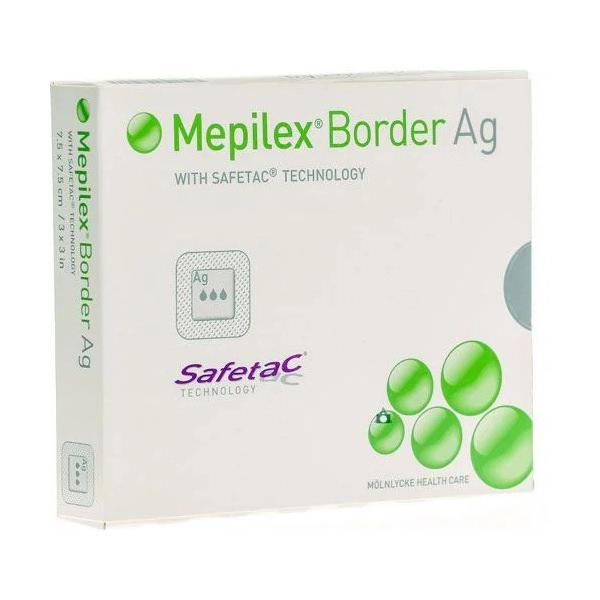 """Molnlycke mepilex border Ag antimicrobial foam dressing with silver 6"""" x 8"""""""