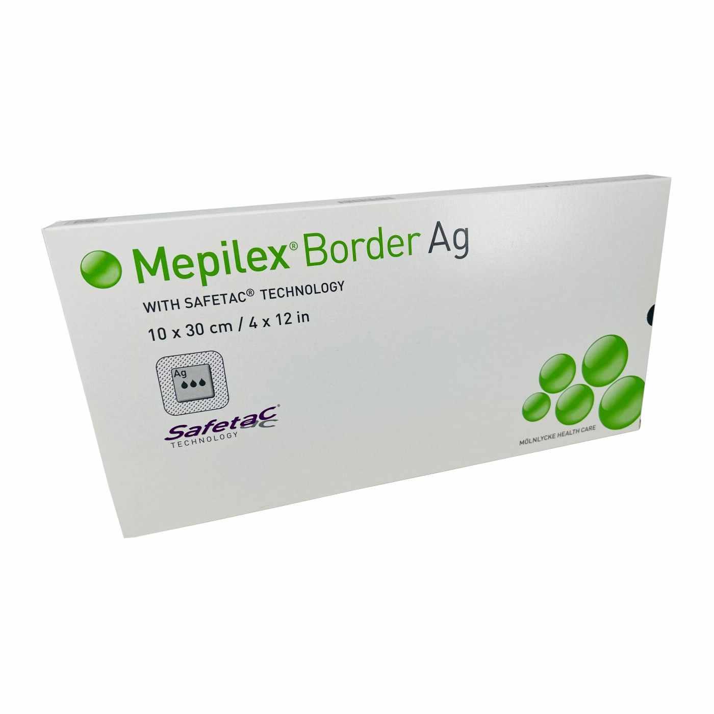 "Molnlycke mepilex border Ag post-op antimicrobial foam dressing with silver 4"" x 12"""