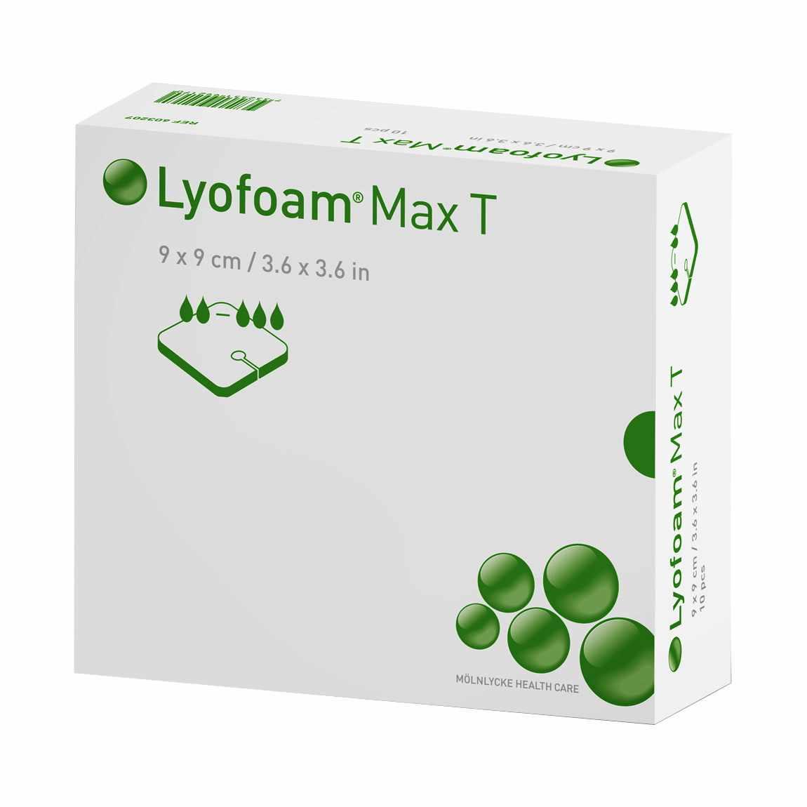 """Molnlycke Lyofoam Max T Polyurethane Foam Dressing, Sterile, 3-1/2"""" x 3-1/2"""""""