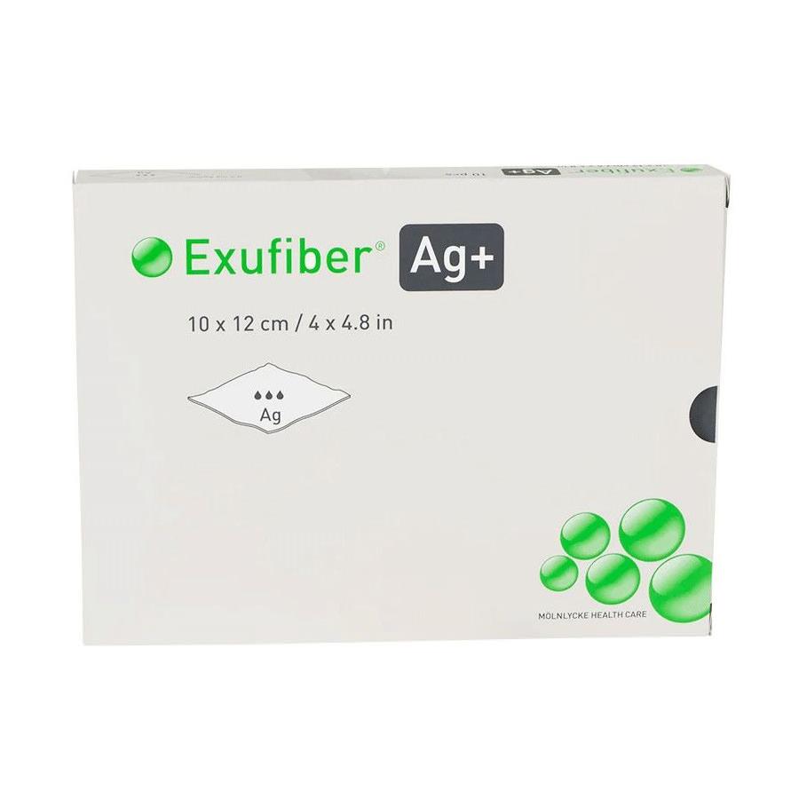 Exufiber Ag+ Antimicrobial Gelling Fiber Dressing, 4 x 4.8 Inch