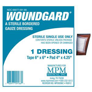 WoundGard Bordered Gauze Dressing, 6 x 6 Inch, 4 x 4-1/4 Inch Pad