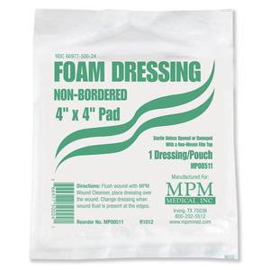 """MPM Medical Non-bordered Foam Dressing 4"""" x 4"""", Square with Water-proof Top Layer"""