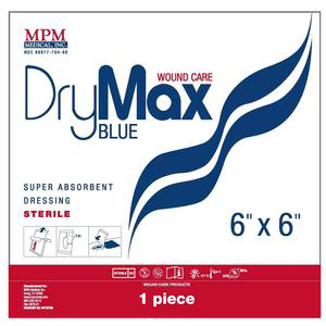 """DryMax Blue Super Absorbent Wound Dressing with Waterproof Layer, 6 x 6"""""""