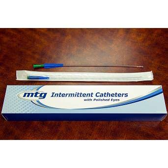 "MTG Straight Tip Male Intermittent Catheter, 12 Fr, 16"" Vinyl Catheter with Handling Sleeve"