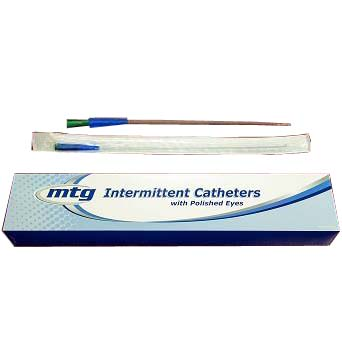 "MTG Straight Tip Male Intermittent Catheter, 16 Fr, 16"" Vinyl Catheter with Handling Sleeve"