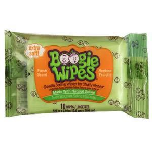 Nehemiah Boogie Wipes Saline Nose Wipe, Fresh Scent, Travel Pack