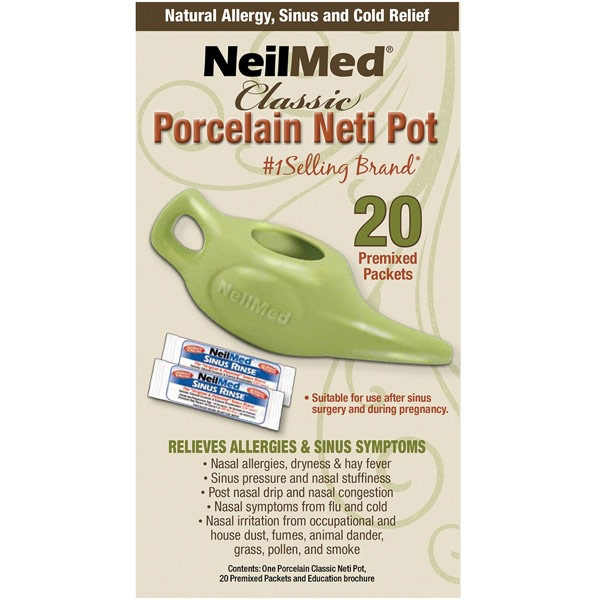 NasaFlo Saline Nasal Wash Neti Pot with 20 Premixed Packets