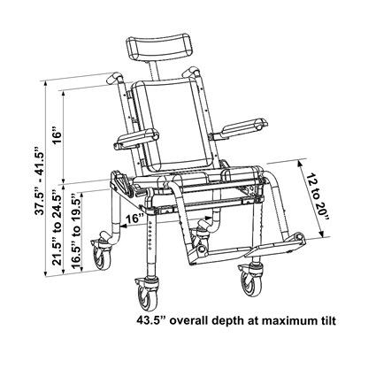 Nuprodx 4000Tilt Pediatric Roll-In-Shower Chair | Medicaleshop