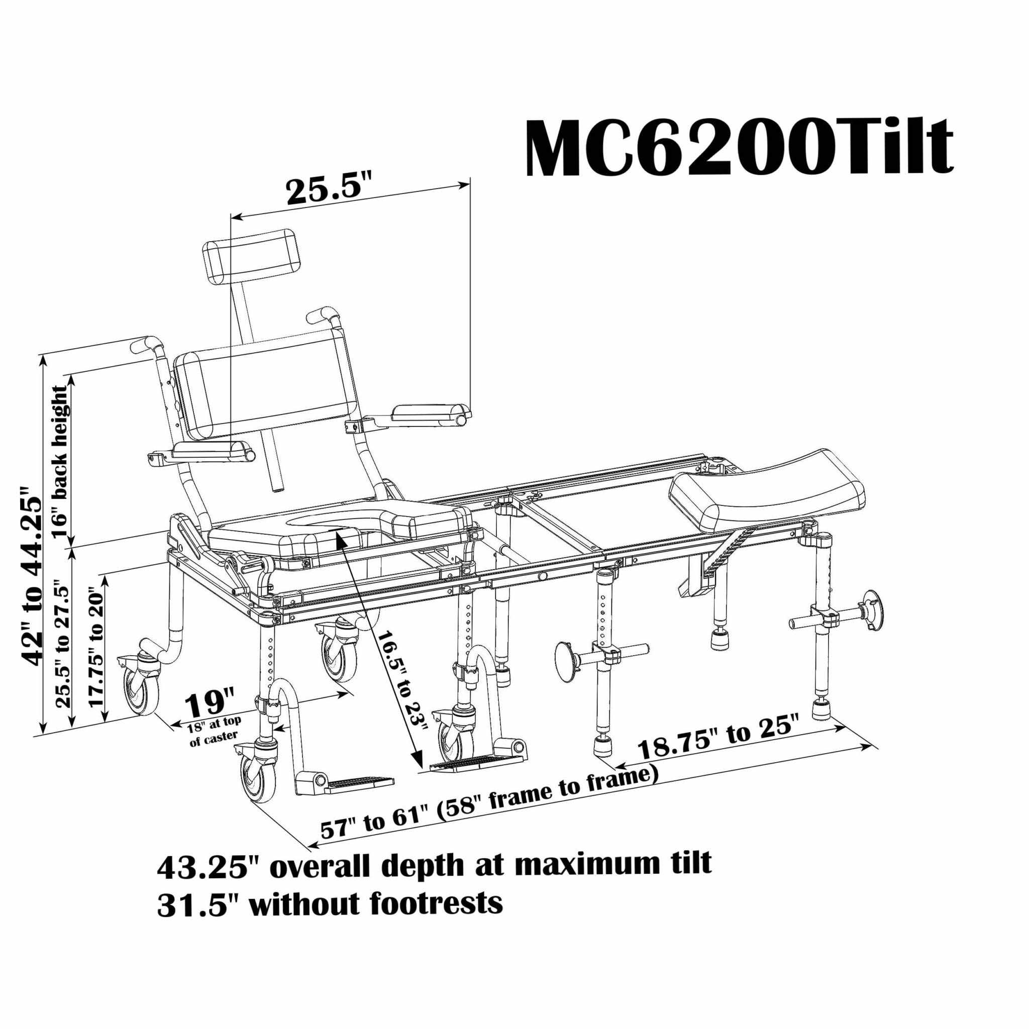 Nuprodx multichair 6200tilt tub slider system