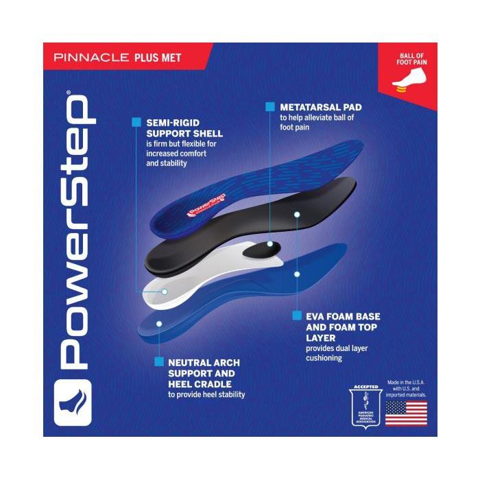 Powerstep Pinnacle Plus Met Full Length Orthotic Shoe Insoles